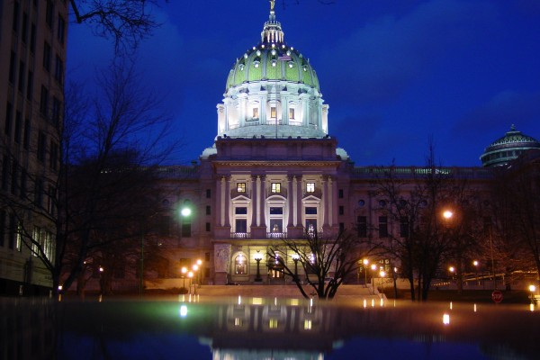 Harrisburg Capital Building at Night