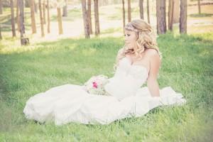 bride in grass