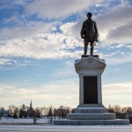 a gettysburg monument in winter