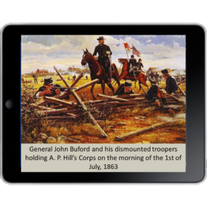 ipad with gettysburg battlefield tours 'tourplus' on it