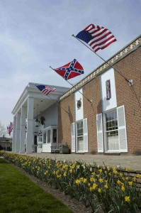 American Civil War Wax Museum exterior with american and confederate flags