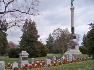 memorial wreaths at gettysburg national cemetery