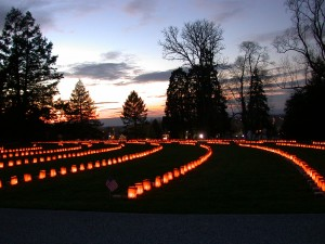 9th Annual Remembrance Illumination at dusk