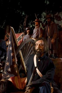 wax figure with american and confederate flag