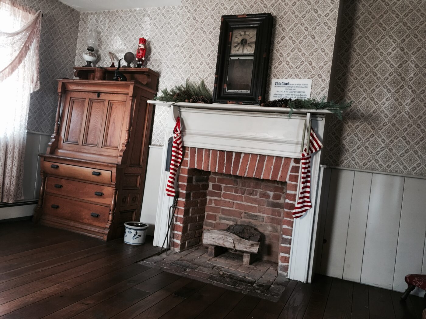 jennie wade house mantel decorated for christmas