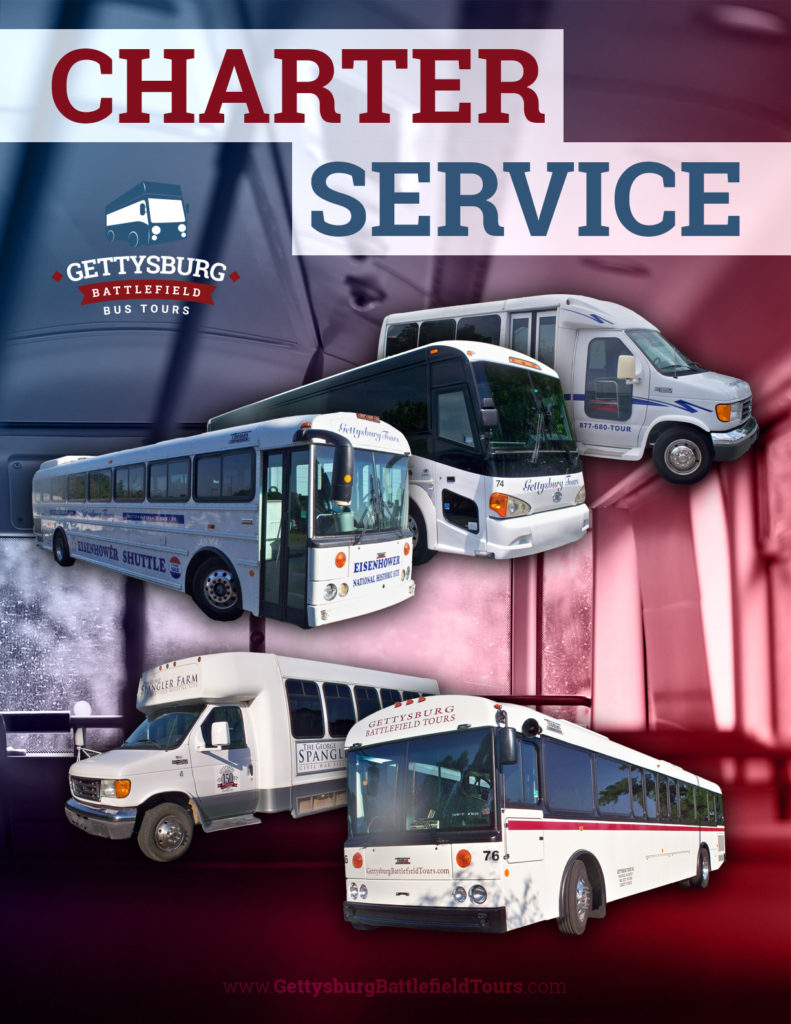 charter bus trips flyer with different buses displayed from Gettysburg Battlefield Bus Tours