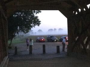 looking through a bridge in gettysburg at dusk