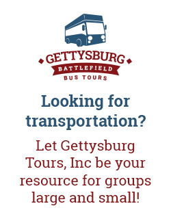 "gettysburg battlefield bus tours logo with ""looking for transportation? let gettysburg tours, inc be your resource for groups large and small!"" written under it"