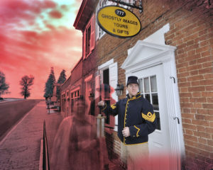 A tour guide and apparitions in front of the entrance for Ghostly Images Tours & Gifts