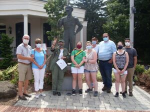 wwii in Gettysburg group with masks on