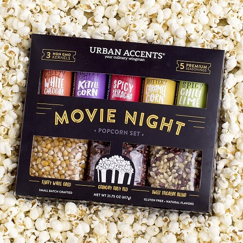 popcorn gift set with variety of seasonings