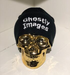 ghostly images beanie on a gold skull
