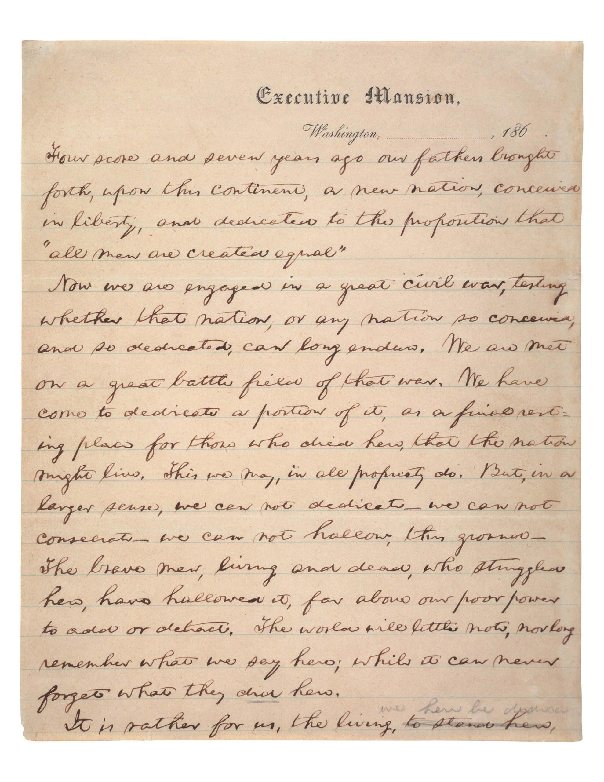 imaeg of the Gettysburg Address